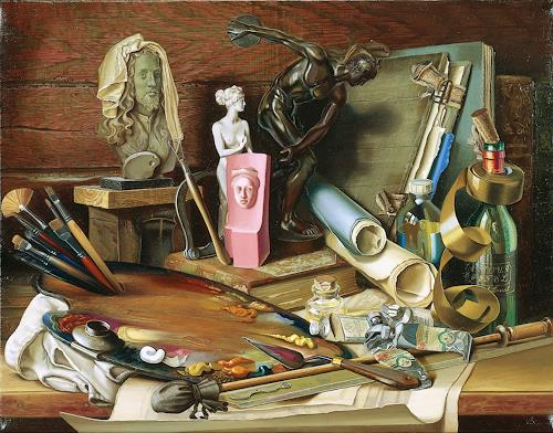 Michael Lassel, Attribute der Kunst, Still life, Symbol, Realism, Expressionism