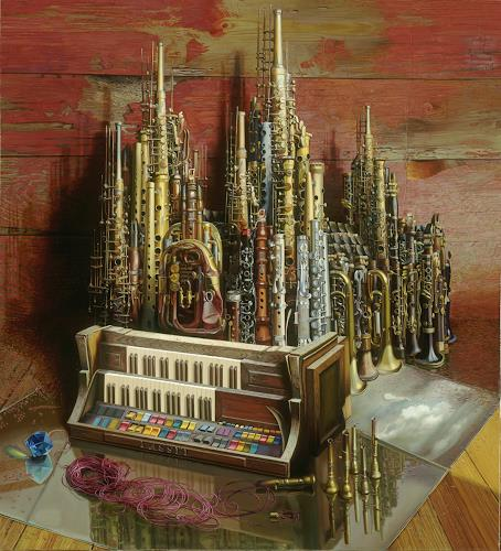 Michael Lassel, Der Dom II, Architecture, Music: Instruments, Realism, Abstract Expressionism