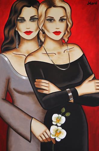 Ekaterina Moré, White Orchid Dream (120x80cm), People: Women, People: Couples, Art Déco, Expressionism
