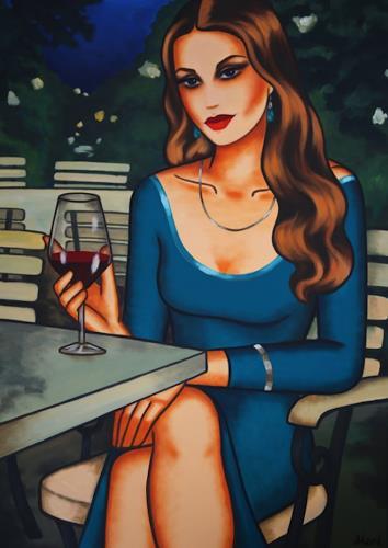 Ekaterina Moré, Blue Evening Mood, People: Women, People: Portraits, Art Déco, Expressionism
