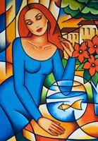 E. Moré, GIRL WITH A GOLD FISH
