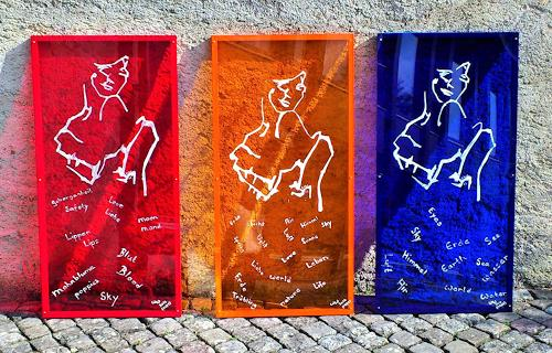 waldraut hool-wolf, Lady in red + Sky + Wold  (1-3), People: Women, Abstract art, Contemporary Art