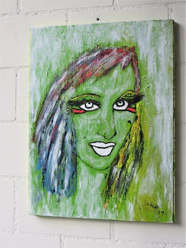 waldraut hool-wolf, lady in green, People: Women, People, Contemporary Art