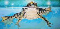 Wandmaler, Froschkönig auf Blau