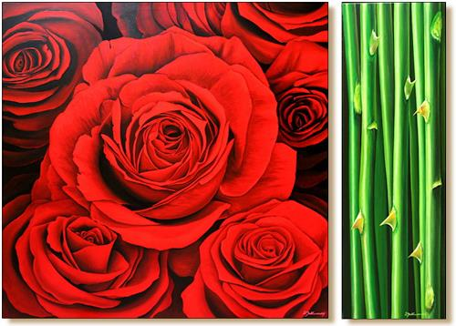 Wandmaler, Rose Rot-Schwarz, Plants: Flowers, Decorative Art, Photo-Realism, Expressionism