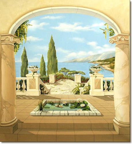 Wandmaler, Mediterrane Wandmalerei / Illusionsmalerei /  Trompe Lu0027oeil Malerei, Nature