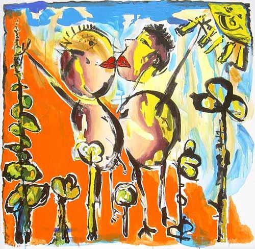 raphael perez, naive painting, Emotions: Joy, Emotions: Love, Primitive Art/Naive Art, Modern Age