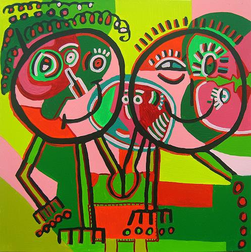 raphael perez, naive paintings artwork by rafi peretz child  style painting, People: Couples, Emotions: Joy, Primitive Art/Naive Art