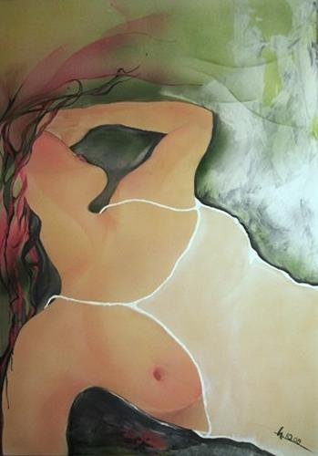 Helga Sachse, sechsuhrfünf, Erotic motifs: Female nudes, Contemporary Art, Expressionism