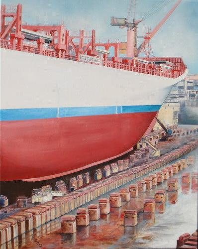 Beate Biebricher, Auf der Werft, Industry  , Verkehr: Ship, Contemporary Art