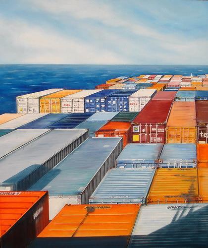 Beate Biebricher, Blick auf die Ladung, Industry  , Verkehr: Ship, Contemporary Art, Abstract Expressionism