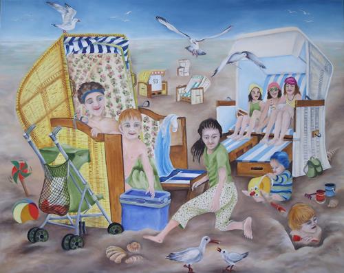 Beate Biebricher, Strandkörbe, Landscapes: Beaches, People: Children, Contemporary Art, Expressionism
