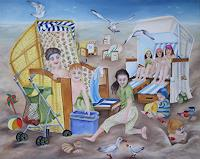 Beate-Biebricher-Landscapes-Beaches-People-Children-Contemporary-Art-Contemporary-Art