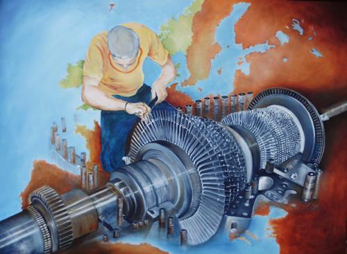 Beate Biebricher, Offener Läufer einer Dampfturbine, The world of work, Industry  , Contemporary Art, Abstract Expressionism