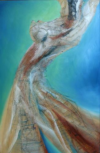 Beate Biebricher, Verlockung, Abstract art, Erotic motifs: Female nudes, Contemporary Art, Expressionism