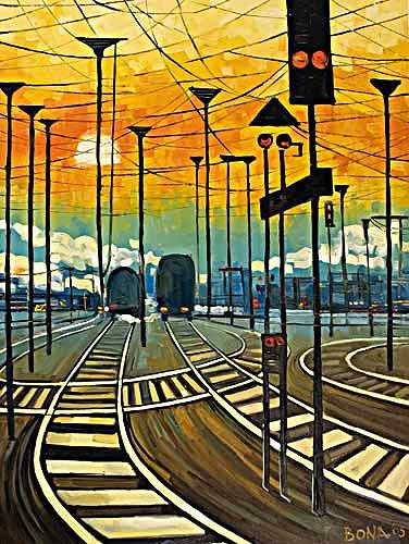 Bona, Long way home, Landscapes: Plains, Traffic: Railway, Neo-Expressionism, Expressionism, Modern Age