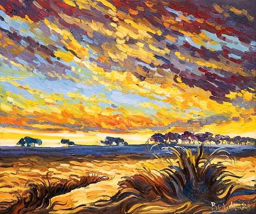Bona, Sunset 4, Miscellaneous Landscapes, Landscapes: Summer, Expressionism