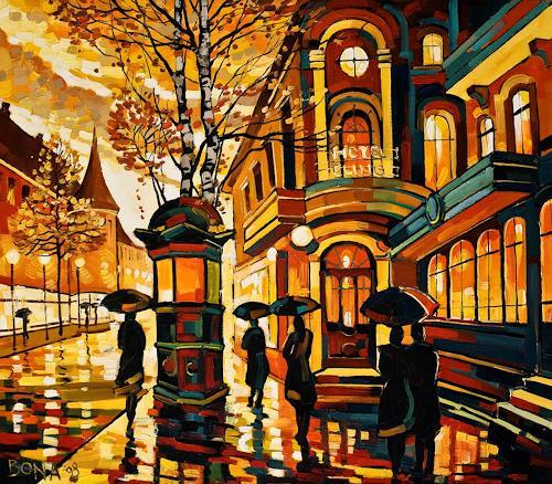 Bona, Magic Night, Landscapes: Autumn, Architecture, Expressionism