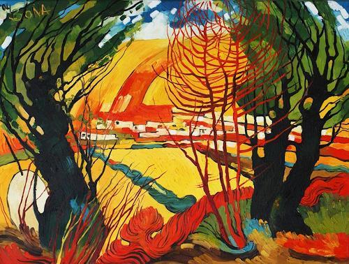 Bona, Sommer, Landscapes: Summer, Landscapes: Hills, Neo-Expressionism, Expressionism