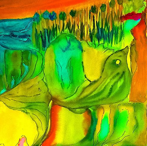 Agnes Vonhoegen, greenbird, Fantasy, Emotions: Joy, Contemporary Art
