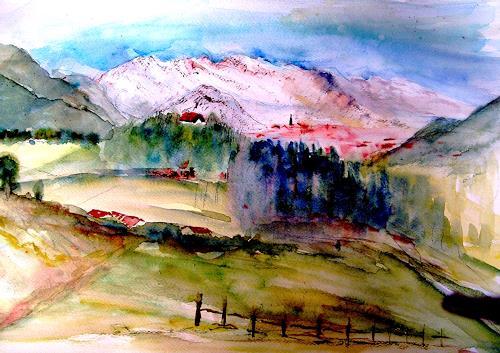 Agnes Vonhoegen, Blick vom Malerwinkel auf Oberstdorf, Landscapes: Mountains, Nature: Wood, Contemporary Art