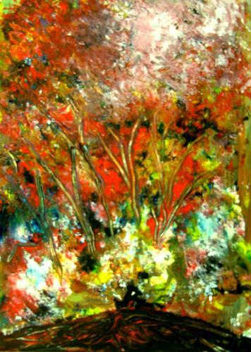 Agnes Vonhoegen, Leuchtende Farbenpracht, Abstract art, Nature: Wood, Contemporary Art, Expressionism