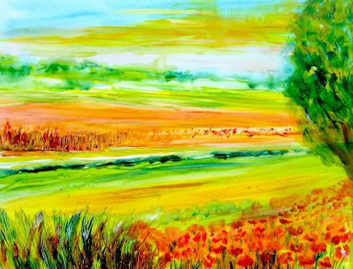 Agnes Vonhoegen, Sommerlandschaft II, Landscapes: Summer, Landscapes: Plains, Contemporary Art