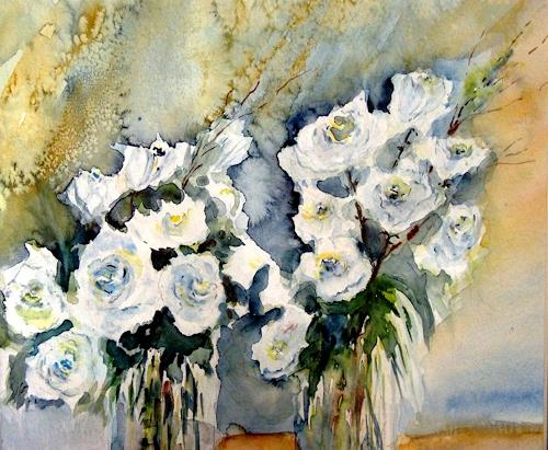 Agnes Vonhoegen, weiße Rosen, Miscellaneous, Decorative Art, Contemporary Art, Expressionism