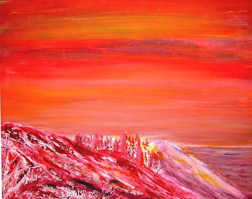 Agnes Vonhoegen, Berg im Abendrot, Landscapes: Mountains, Nature: Earth, Contemporary Art