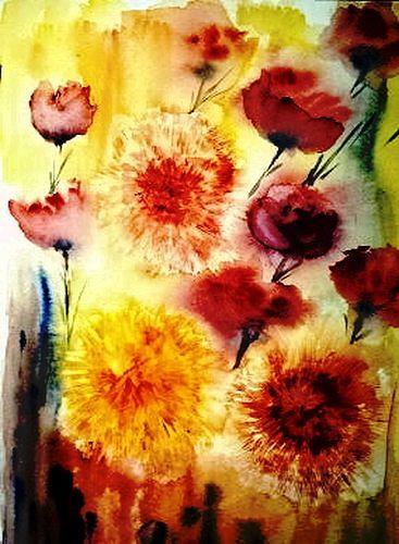 Agnes Vonhoegen, Flockenblumen, Plants: Flowers, Concrete Art