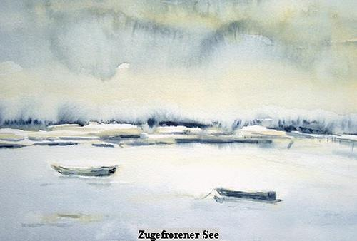 Agnes Vonhoegen, Zugefrorener See, Landscapes: Sea/Ocean, Landscapes: Winter, Concrete Art, Modern Age
