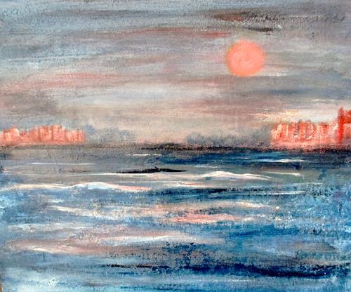 Agnes Vonhoegen, Mit der Fähre zur Urlaubsinsel, Nature: Water, Landscapes: Summer, Contemporary Art