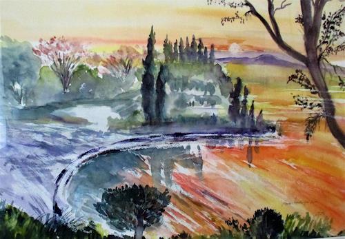 Agnes Vonhoegen, am  Gardasee, Landscapes: Summer, Nature, Contemporary Art, Expressionism