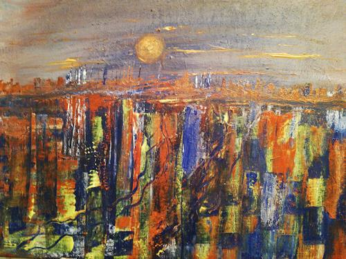 Agnes Vonhoegen, Stadt in der Dämmerung, Miscellaneous Landscapes, Fantasy, Abstract Art
