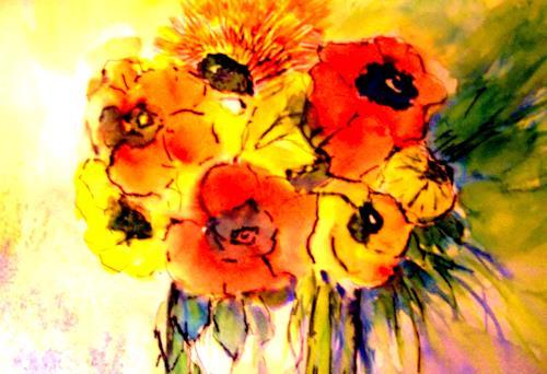 Agnes Vonhoegen, Bunter Strauß, Plants: Flowers, Nature, Contemporary Art, Expressionism