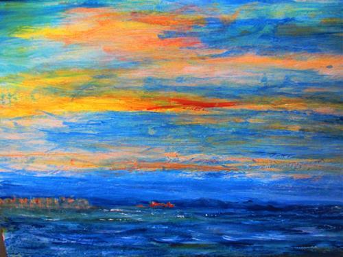 Agnes Vonhoegen, Träumen am Meer, Fantasy, Nature: Water, Contemporary Art, Expressionism