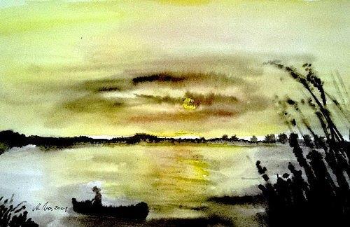 Agnes Vonhoegen, Abendstimmung am See 2, Landscapes: Sea/Ocean, Contemporary Art