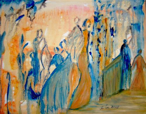 Agnes Vonhoegen, Treff im Park, People: Group, Society, Contemporary Art, Expressionism