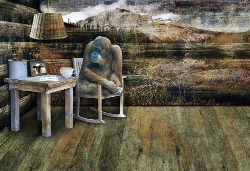Pascale Turrek, Der Affe und das Schaf, Fantasy, Miscellaneous Animals, Surrealism, Avant-garde, Modern Age