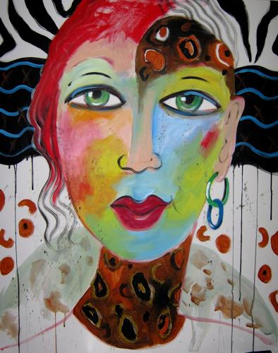 Leonore Zimmermann, Lady Africa, People: Faces, Action Painting