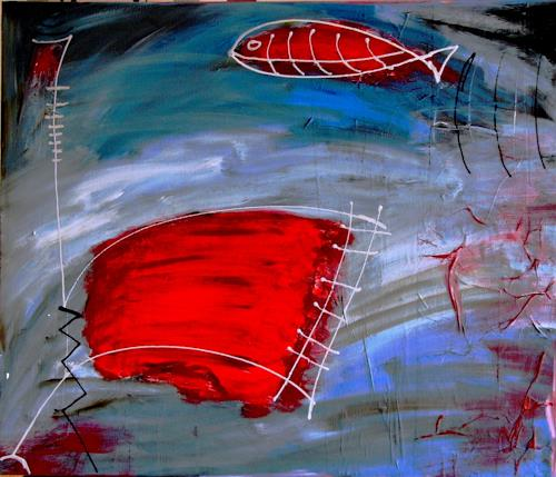 Bibi J, fishing, Abstract art, Contemporary Art, Expressionism