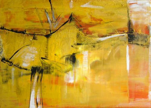 Bibi J, landscape, yellow, Abstract art, Contemporary Art