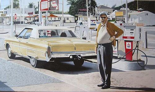 Thomas Kobusch, Fuel stop, People: Men, Traffic: Car, Photo-Realism, Expressionism