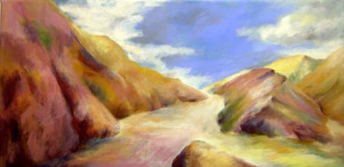 Nicole Mühlethaler, purple ocher hills, Landscapes: Hills, Nature: Miscellaneous