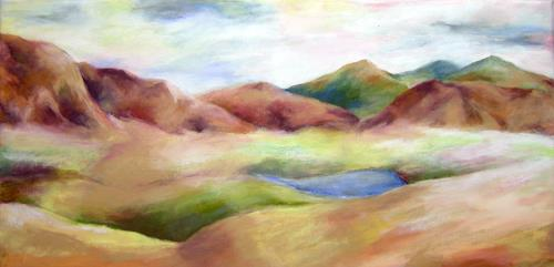 Nicole Mühlethaler, blue lake, Landscapes: Hills, Nature: Miscellaneous
