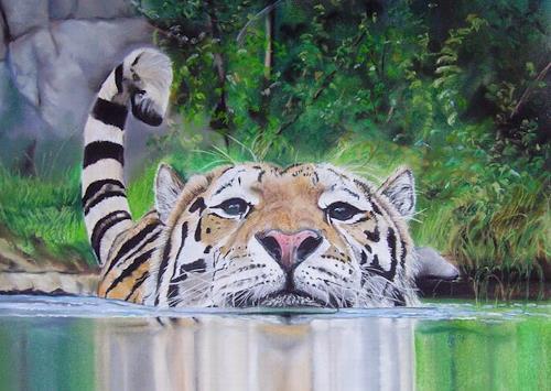 erhard sünder, schwimmender Tiger, Animals: Land, Realism