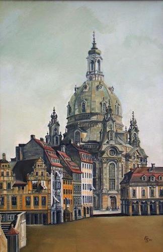 erhard sünder, Frauenkirche Dresden, nach Canaletto, Buildings: Churches, Realism, Expressionism