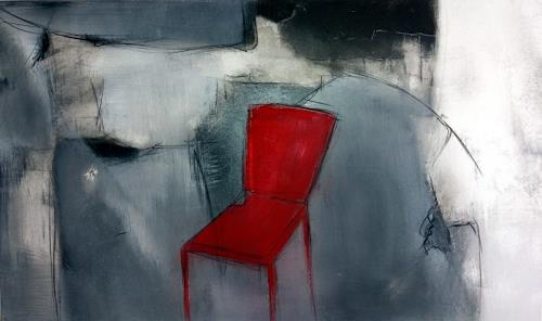 Judith SAUTHIER-Däppen, Der rote Stuhl, Abstract art, Abstract Art