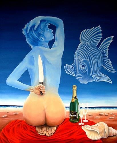Joerg Peter Hamann, ...on the knife´s edge, Erotic motifs: Female nudes, Landscapes: Sea/Ocean, Post-Surrealism