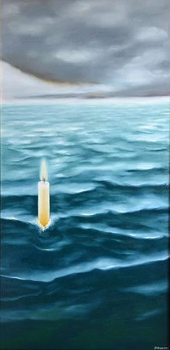 Joerg Peter Hamann, Kerze im Meer, Landscapes: Sea/Ocean, Landscapes: Sea/Ocean, Post-Surrealism, Contemporary Art